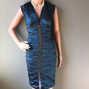Blue Metallic Wrinkle Style Wiggle Dress